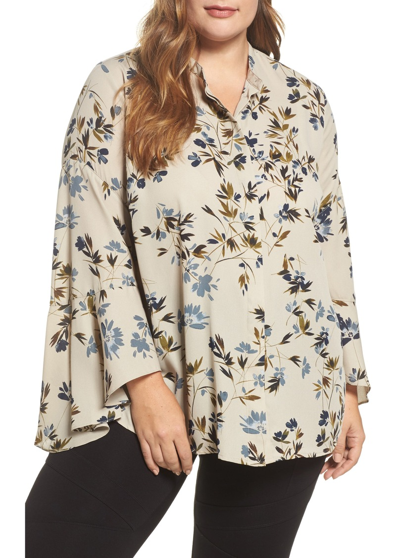 Vince Camuto Timeless Bouquet Bell Sleeve Blouse (Plus Size)