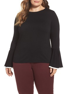 Vince Camuto Tipped Bell Sleeve Top (Plus Size)