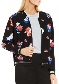 Vince Camuto Traveling Blooms Zip Front Bomber Jacket