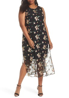 Vince Camuto Tropical Embroidered Mesh Overlay Dress (Plus Size)