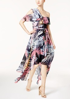 Vince Camuto Tropical Off-The-Shoulder High-Low Dress