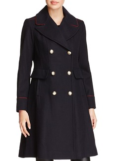 Vince Camuto Twill Double-Breasted Button Front Coat