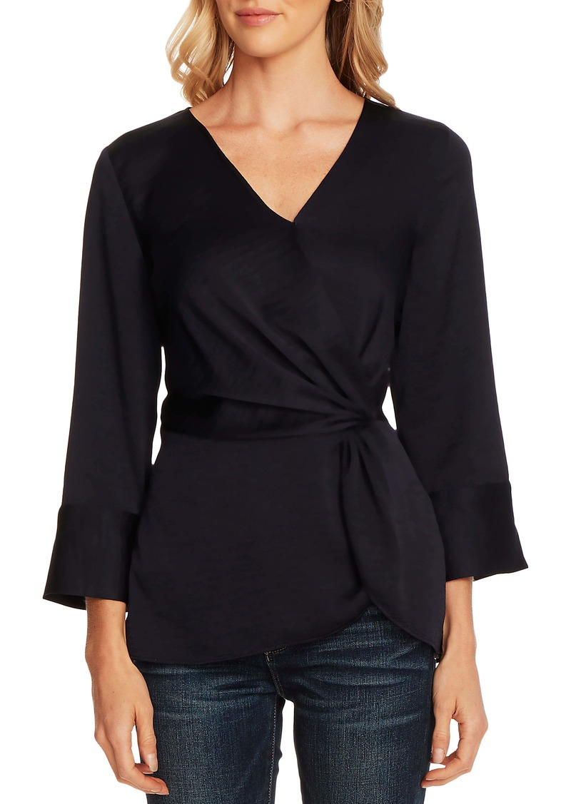 Vince Camuto Twist Detail Hammered Satin Blouse