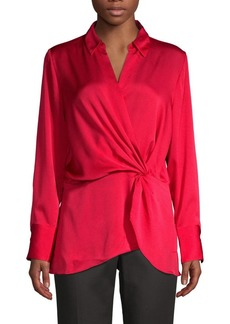 Vince Camuto Twist-Front Satin Top