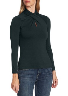 Vince Camuto Twist Neck Keyhole Long Sleeve Top