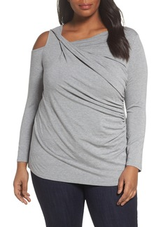 Vince Camuto Twisted Cold Shoulder Top (Plus Size)