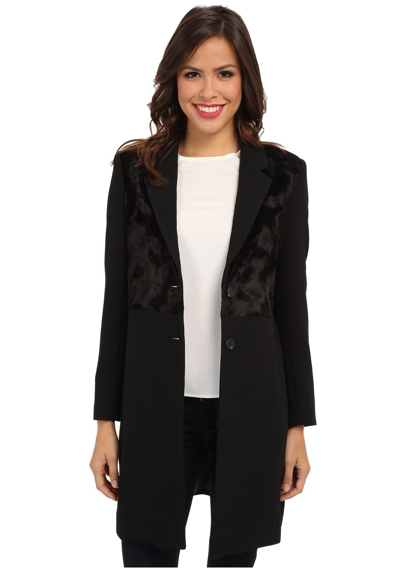 Vince Camuto Two Button Coat w/ Faux Pony Fur Front
