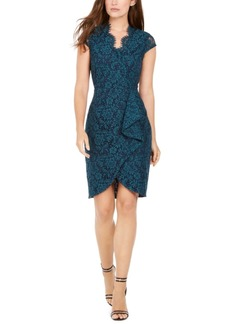 Vince Camuto Two-Tone Lace Ruffle Dress