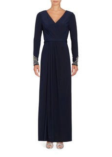 VINCE CAMUTO V-Neck Beaded Sleeve Evening Gown