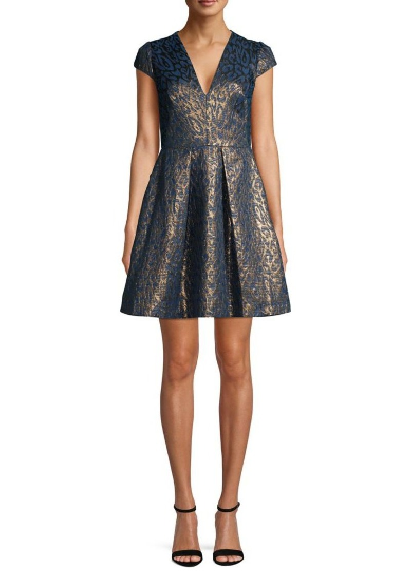 Vince Camuto V-Neck Metallic Pleated Dress