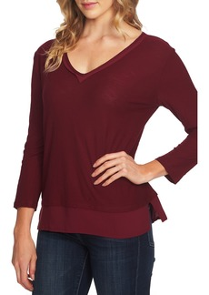 Vince Camuto V-Neck Mix Media Top