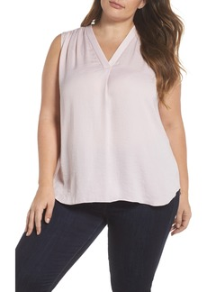 Vince Camuto V-Neck Rumple Blouse (Plus Size)