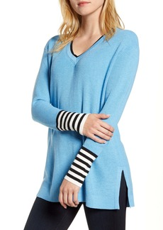Vince Camuto V-Neck Stripe Cuff Sweater