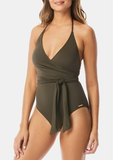 Vince Camuto V-Neck Wrap-Tie One-Piece Swimsuit Women's Swimsuit