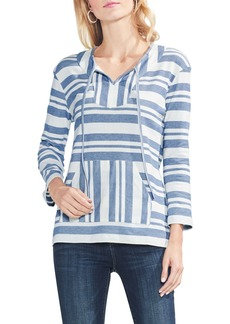 Vince Camuto Variegated Stripe Cotton Blend Drawstring Top