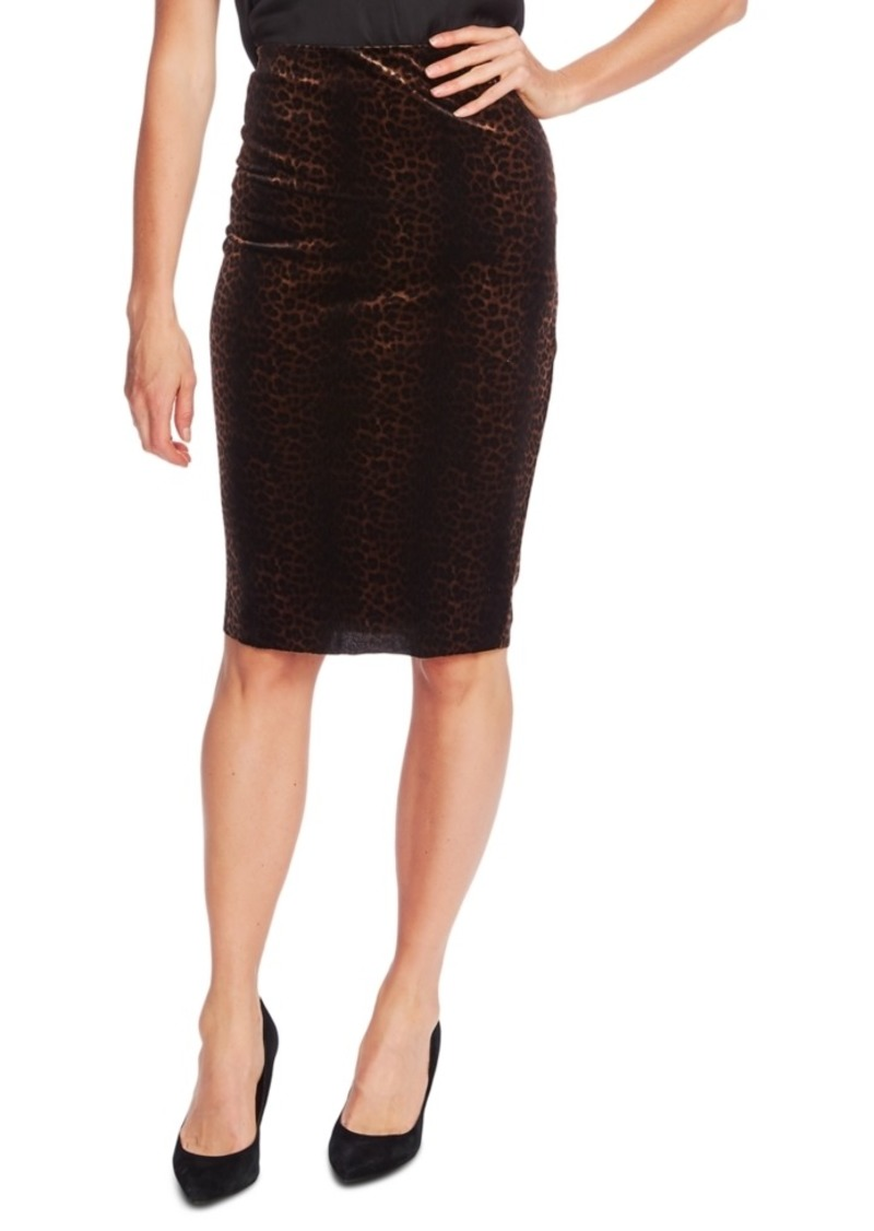 Vince Camuto Velvet Animal-Print Pencil Skirt