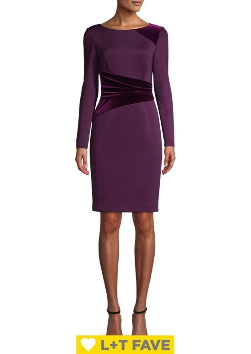 Vince Camuto Velvet Combo Sheath Dress