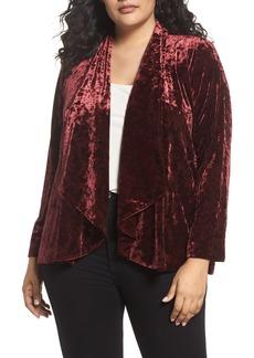 Vince Camuto Velvet Drape Collar Jacket (Plus Size)