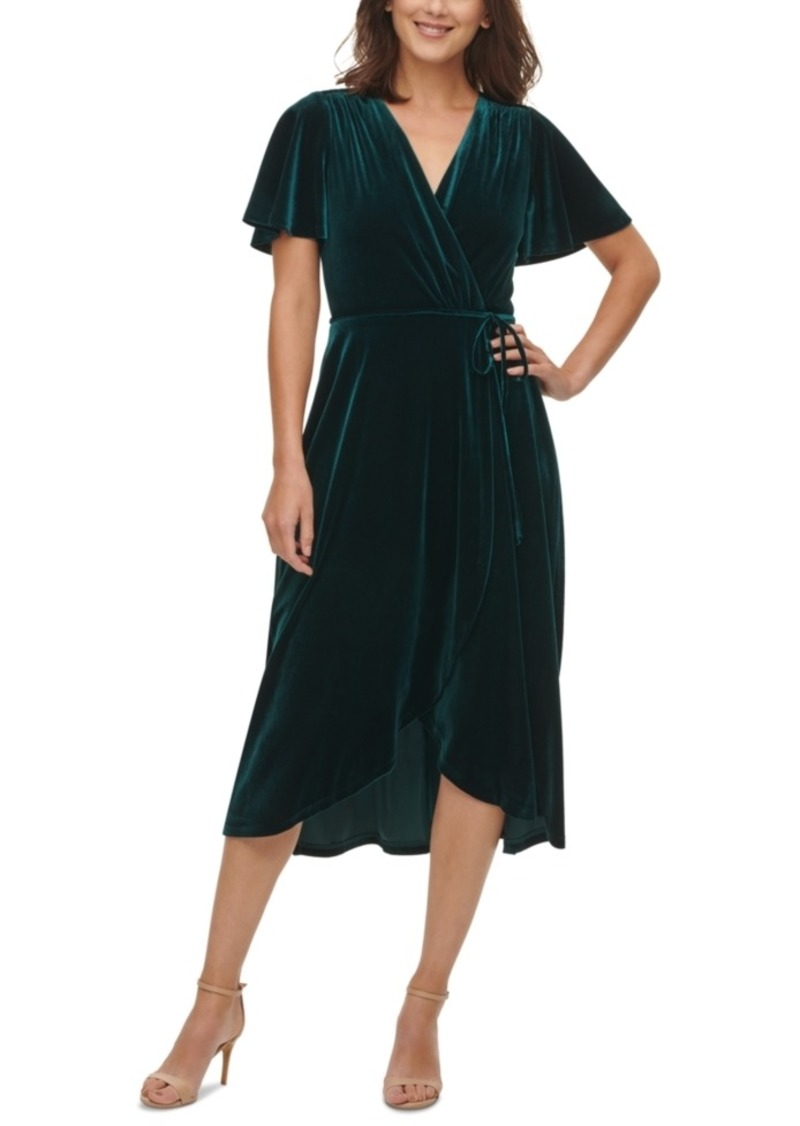 Vince Camuto Velvet Flutter-Sleeve Wrap Dress