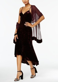 Vince Camuto Velvet High-Low Slip Dress with Chiffon Scarf