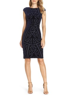 Vince Camuto Velvet Jacquard Sheath Dress