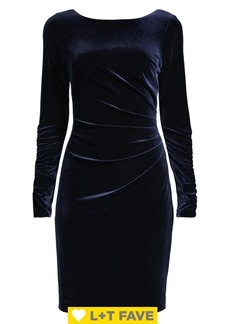 Vince Camuto Velvet Ruched Long-Sleeve Sheath Dress
