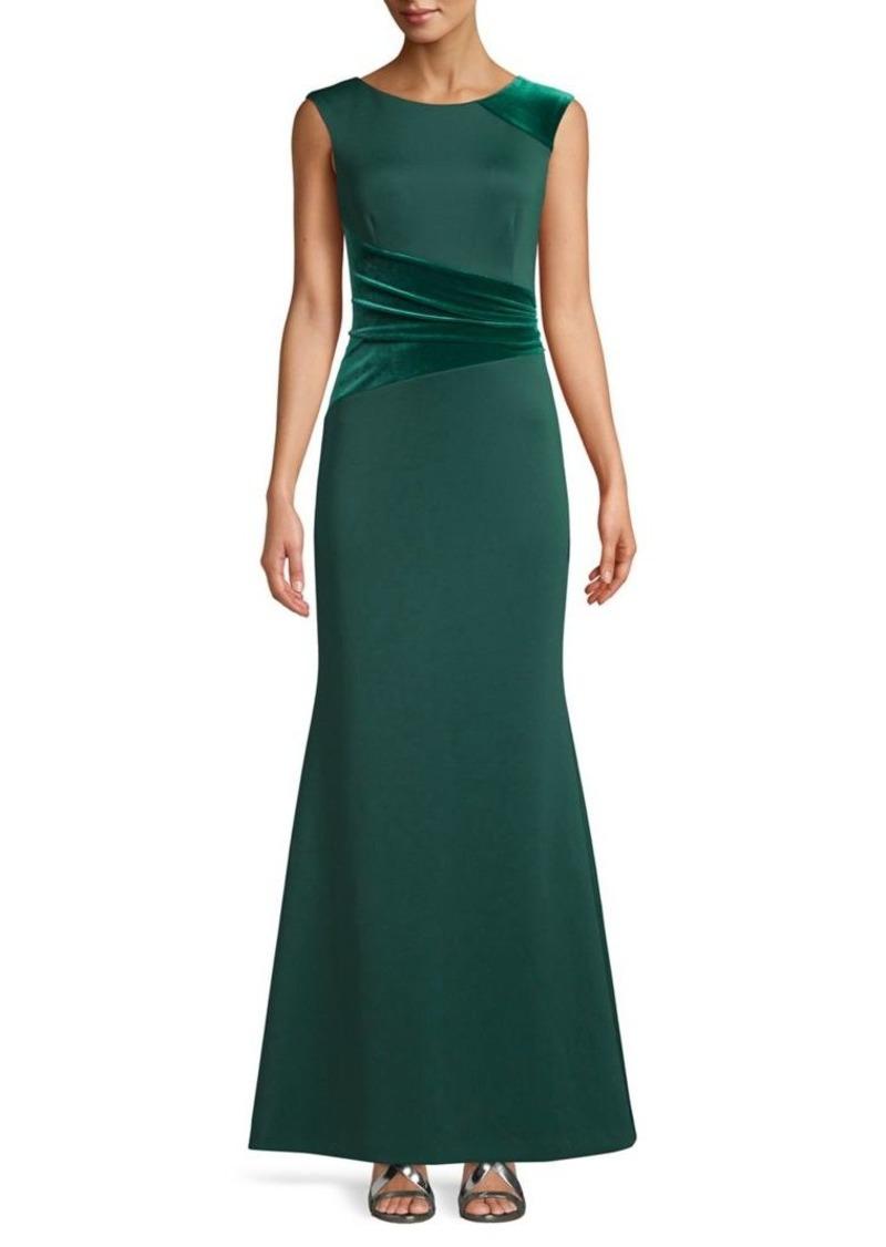 Vince Camuto Velvet-Trimmed Sleeveless Gown