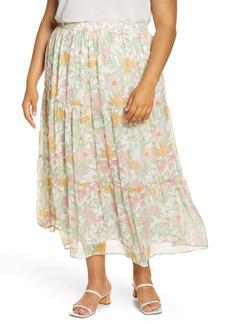 Vince Camuto Verona Garden Tiered Ruffle Skirt (Plus Size)