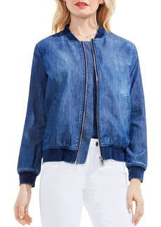 VINCE CAMUTO Washed Denim Bomber Jacket