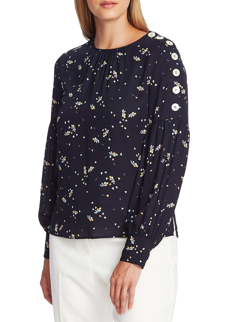 Vince Camuto Whimsical Petal Button Shoulder Bubble Sleeve Top