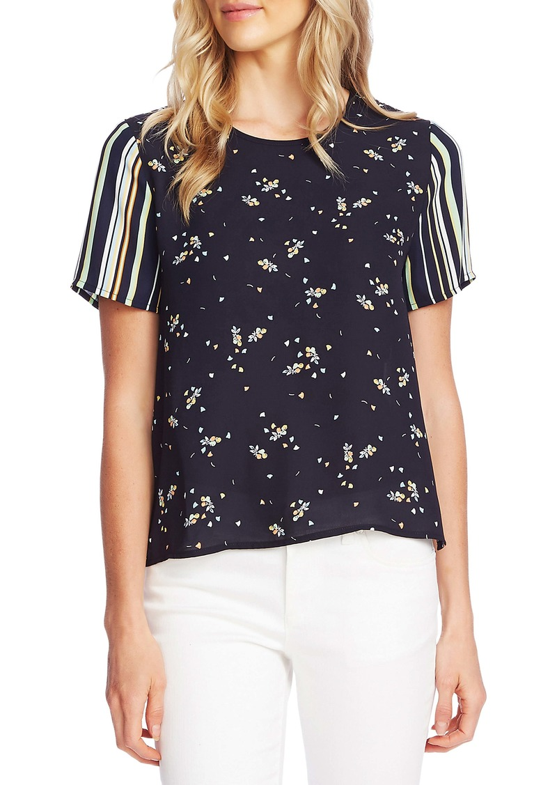 Vince Camuto Whimsical Petals Pattern Mix Georgette Top