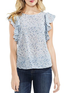 VINCE CAMUTO Whisper Ditsy Floral Ruffle-Sleeve Top