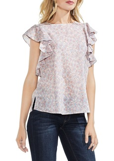 Vince Camuto Whisper Ditsy Ruffle Sleeve Top (Regular & Petite)