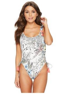 Vince Camuto Wildflower Lace-Up U-Neck One-Piece Swimsuit w/ Removable Soft Cups