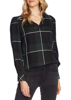Vince Camuto Windowpane Plaid Puff Long Sleeve Top