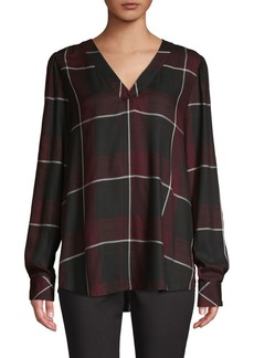 Vince Camuto Windowpane V-Neck Blouse