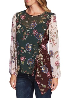 Vince Camuto Windsor Floral Colorblock Asymmetrical Top