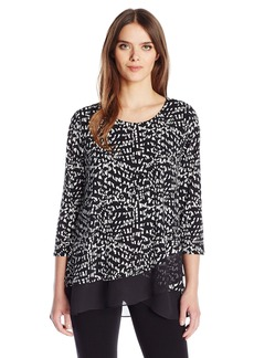 Vince Camuto Women's 3/4 Sleeve Asym Mosaic Glimpses Top  M
