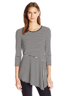 Vince Camuto Women's 3/4 Sleeve Duo Stripe Asymmetrical Panel Hem Top  M