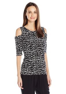 Vince Camuto Women's 3/4 Sleeve Mosaic Glimpses Cold-Shoulder Top  M