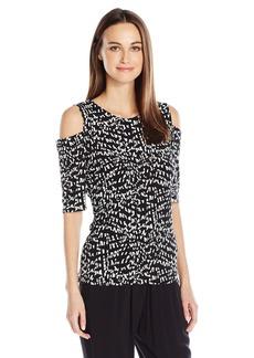 Vince Camuto Women's 3/4 Sleeve Mosaic Glimpses Cold-Shoulder Top  XL