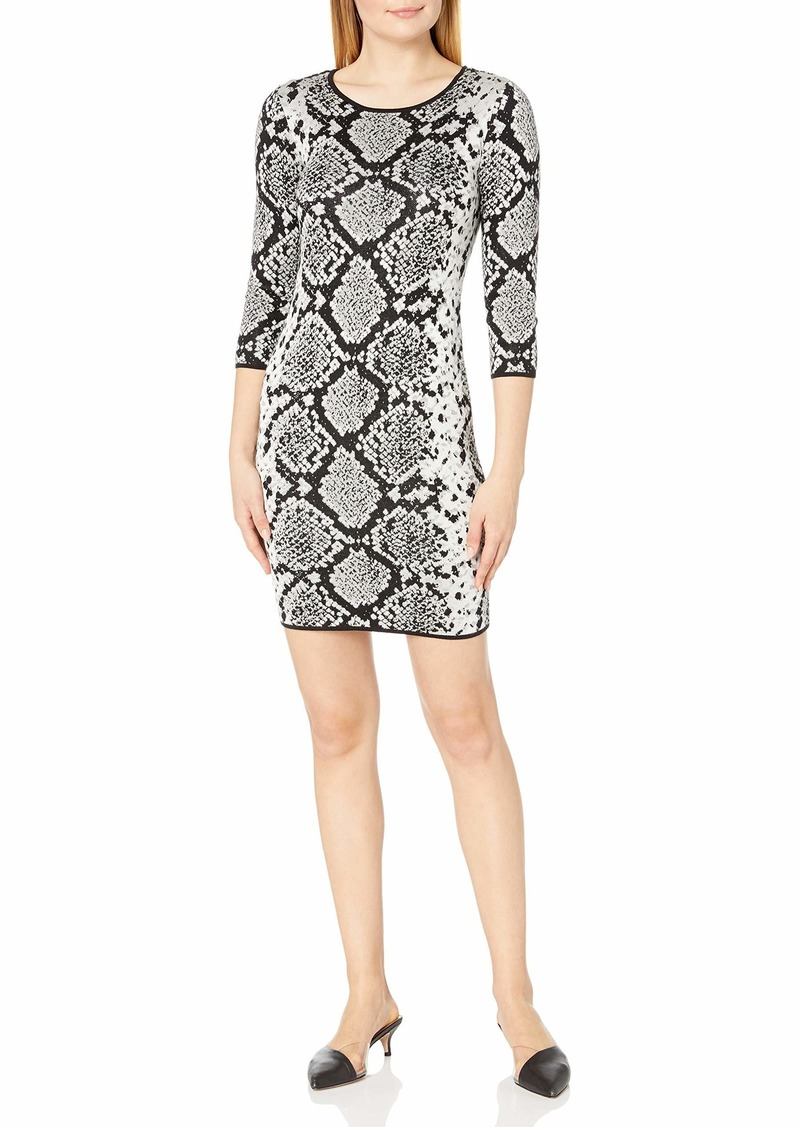 Vince Camuto Women's 3/4 Sleeve Snakeskin Mock Neck Sweater Dress