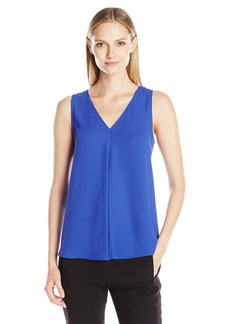 Vince Camuto Women's a Sleeveless V-Neck Drape Front Blouse  X-Small