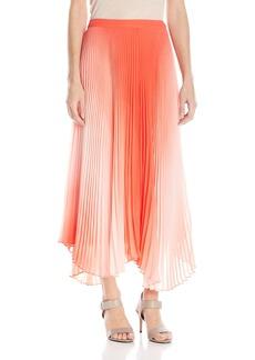 Vince Camuto Women's Asymmetrical Hem Pleated Midi Skirt