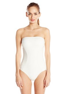 Vince Camuto Women's Bandeau One Piece Swimsuit with Hourglass Side Pleating