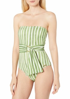 Vince Camuto Women's Bandeau One Piece Swimsuit with Wrap Detail
