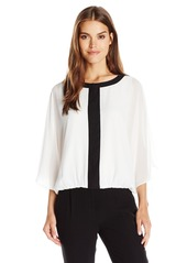 Vince Camuto Women's Batwing Keyhole Blouse W/ Contrast Trim  X-Small