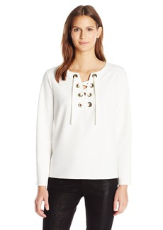 Vince Camuto Women's Bell Sleeve Lace up Ponte Blouse  L