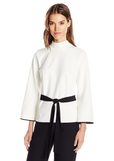 Vince Camuto Women's Bell Sleeve Mock Neck Belted Top  L