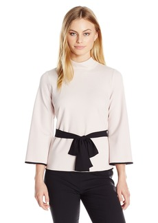 Vince Camuto Women's Size Bell Sleeve Mock Neck Belted Top  Petite M